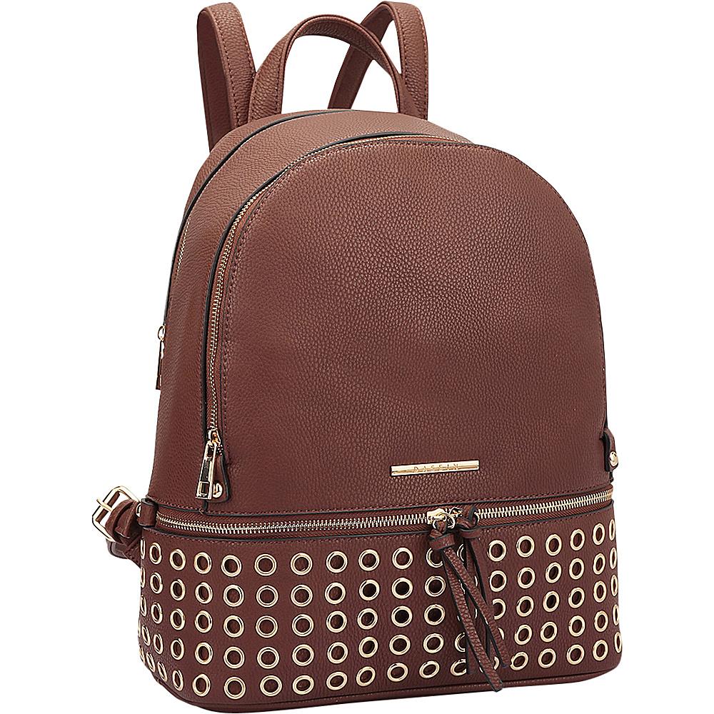 Dasein Round Studded Backpack Coffee - Dasein Manmade Handbags - Handbags, Manmade Handbags
