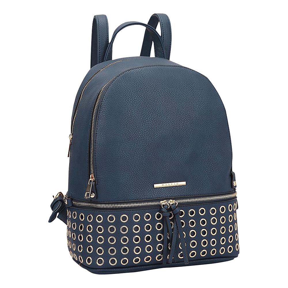 Dasein Round Studded Backpack Navy Blue - Dasein Manmade Handbags - Handbags, Manmade Handbags