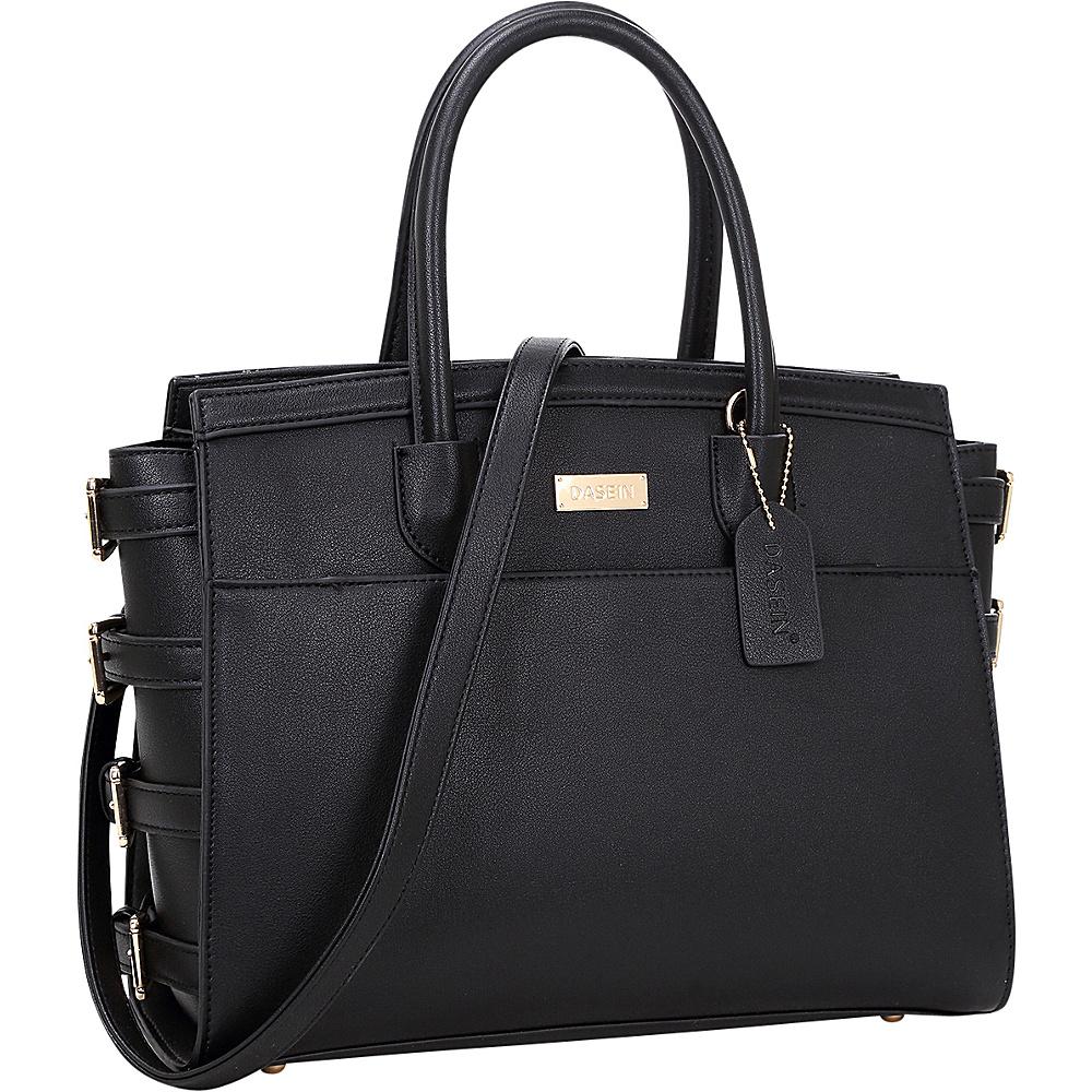 Dasein Side Buckle Top Handle Satchel Black - Dasein Manmade Handbags - Handbags, Manmade Handbags