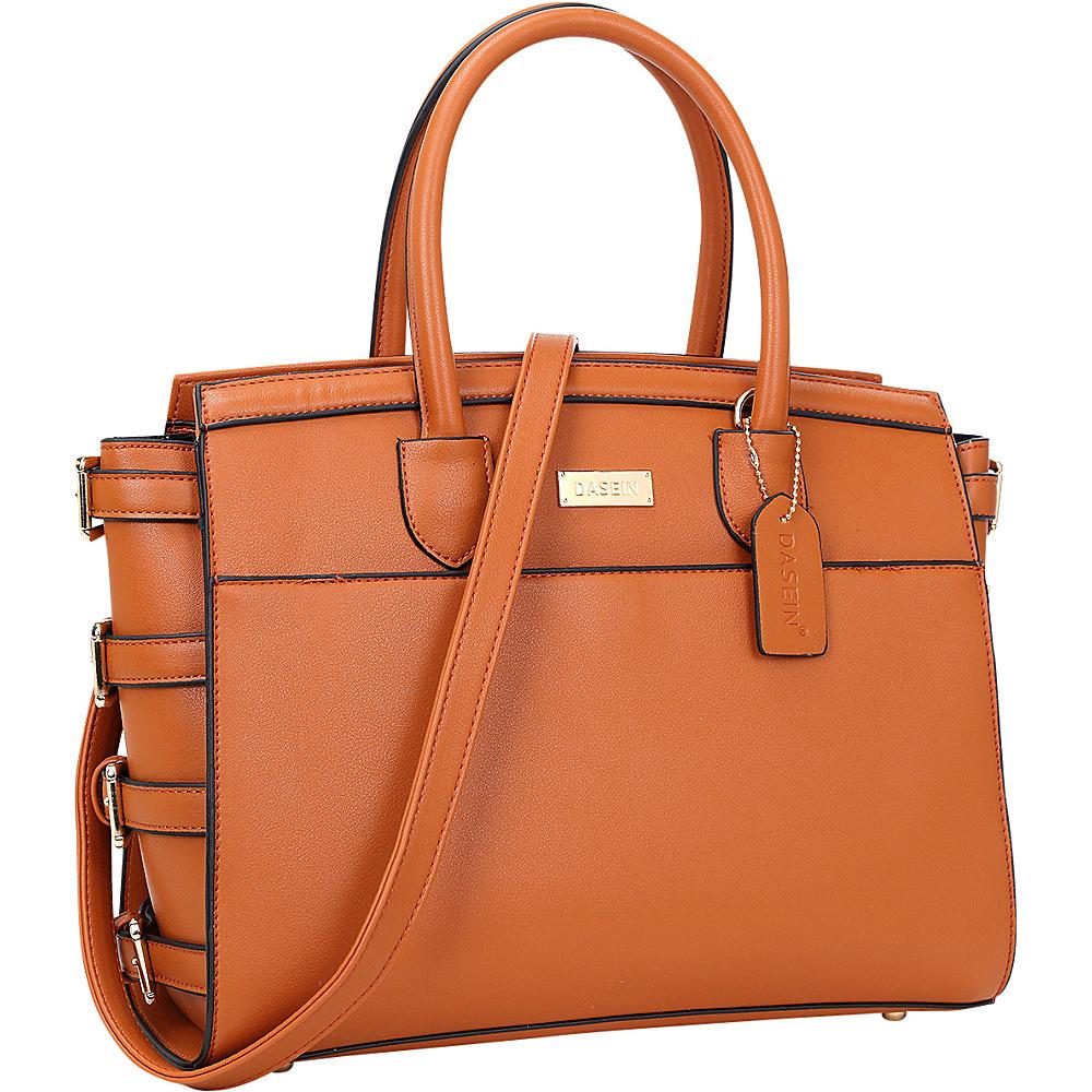 Dasein Side Buckle Top Handle Satchel Brown - Dasein Manmade Handbags - Handbags, Manmade Handbags