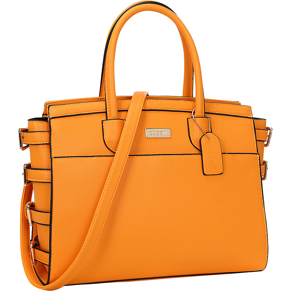 Dasein Side Buckle Top Handle Satchel Orange - Dasein Manmade Handbags - Handbags, Manmade Handbags