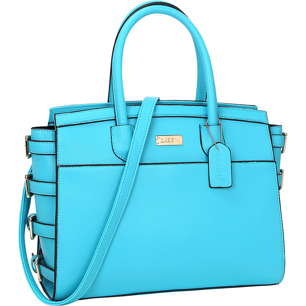Dasein Side Buckle Top Handle Satchel Blue - Dasein Manmade Handbags - Handbags, Manmade Handbags