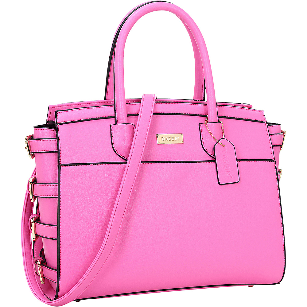 Dasein Side Buckle Top Handle Satchel Rose - Dasein Manmade Handbags - Handbags, Manmade Handbags