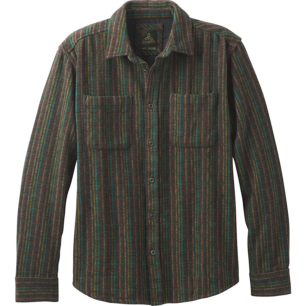 PrAna Brayden Long Sleeve Shirt L - Dark Olive - PrAna Mens Apparel - Apparel & Footwear, Men's Apparel