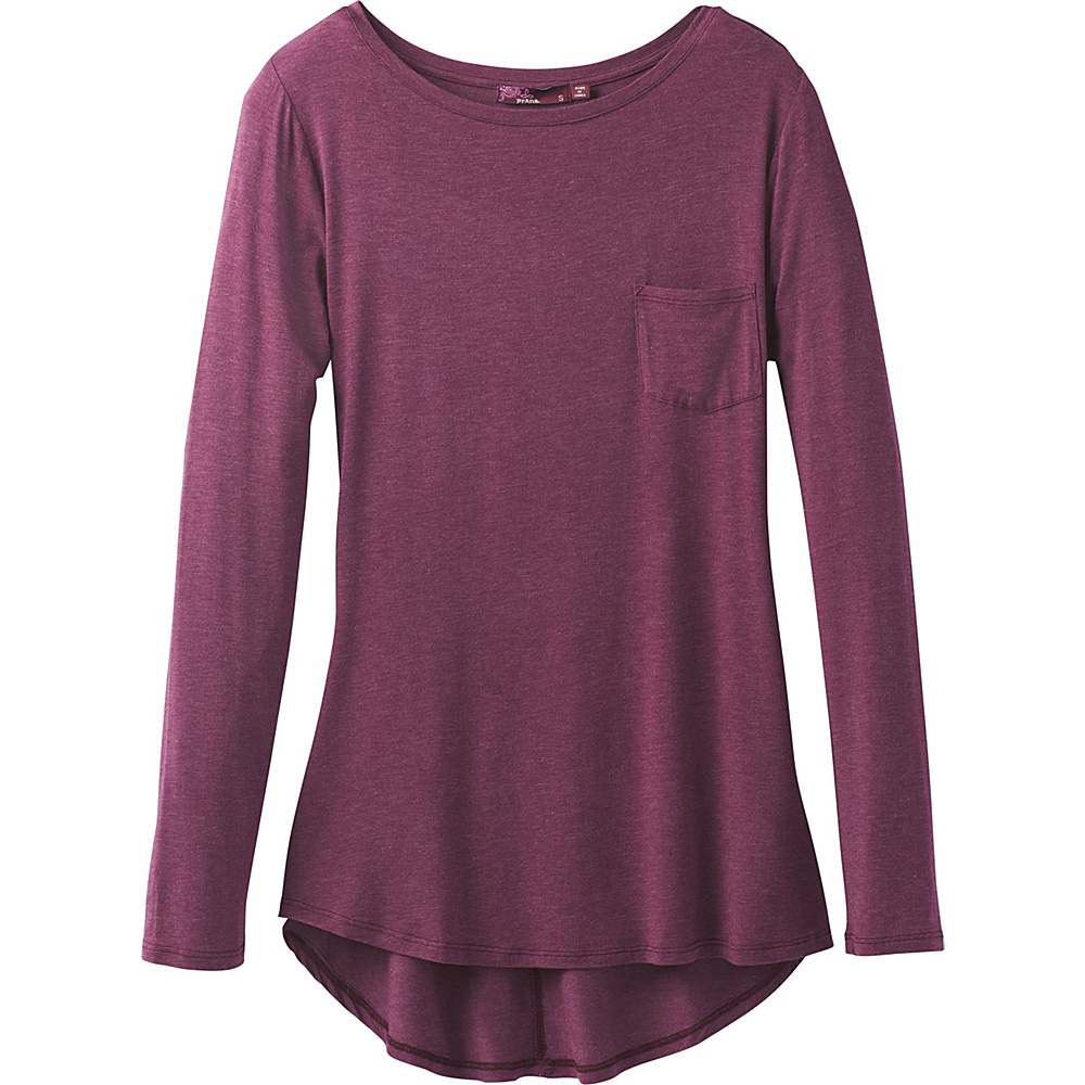 PrAna Foundation Long Sleeve Tunic S - Sangria Heather - PrAna Womens Apparel - Apparel & Footwear, Women's Apparel