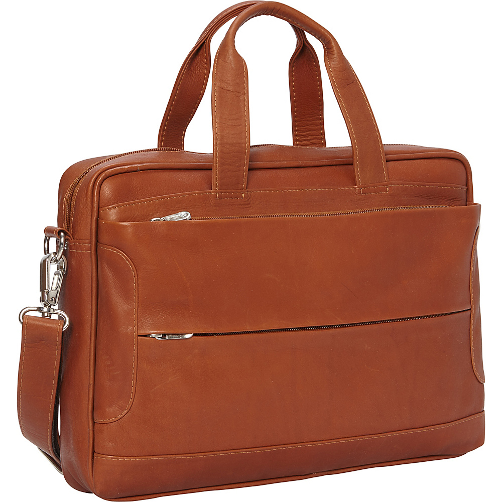 Piel Hidden Pocket Laptop Briefcase Saddle - Piel Non-Wheeled Business Cases - Work Bags & Briefcases, Non-Wheeled Business Cases