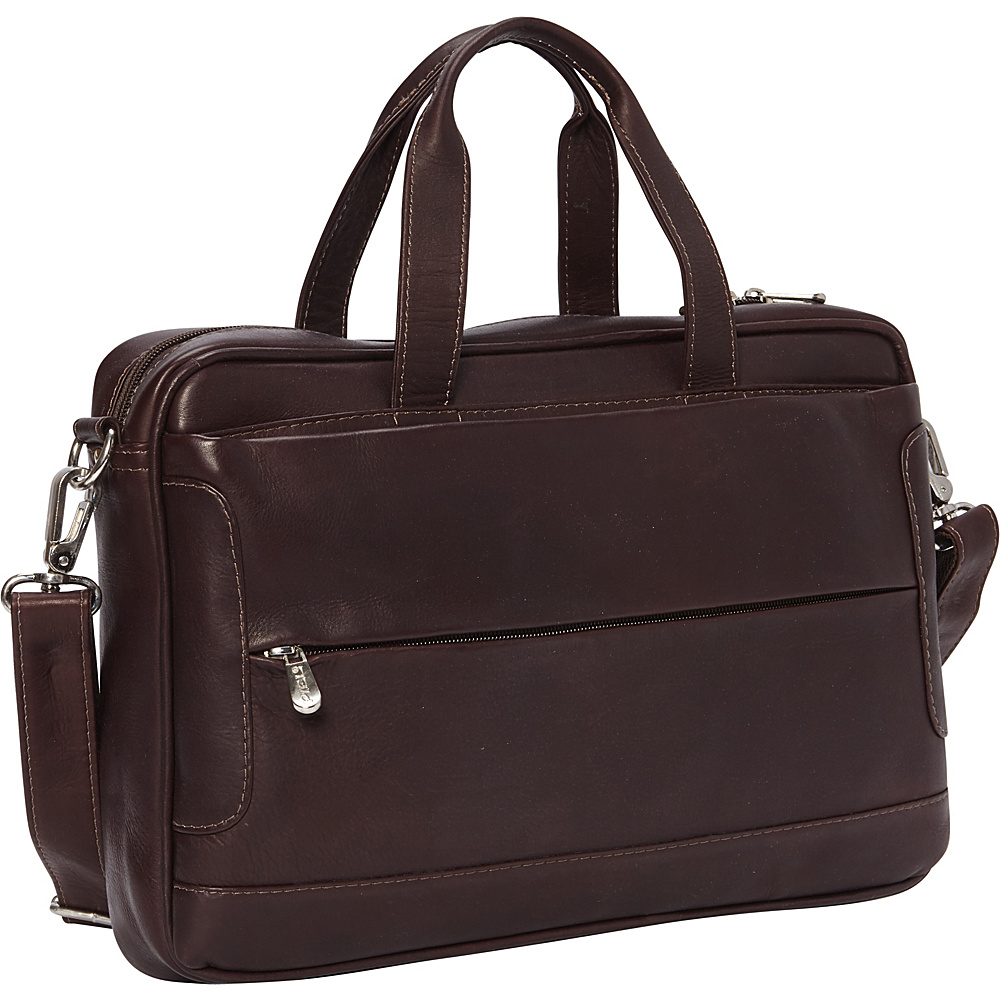 Piel Hidden Pocket Laptop Briefcase Chocolate - Piel Non-Wheeled Business Cases - Work Bags & Briefcases, Non-Wheeled Business Cases