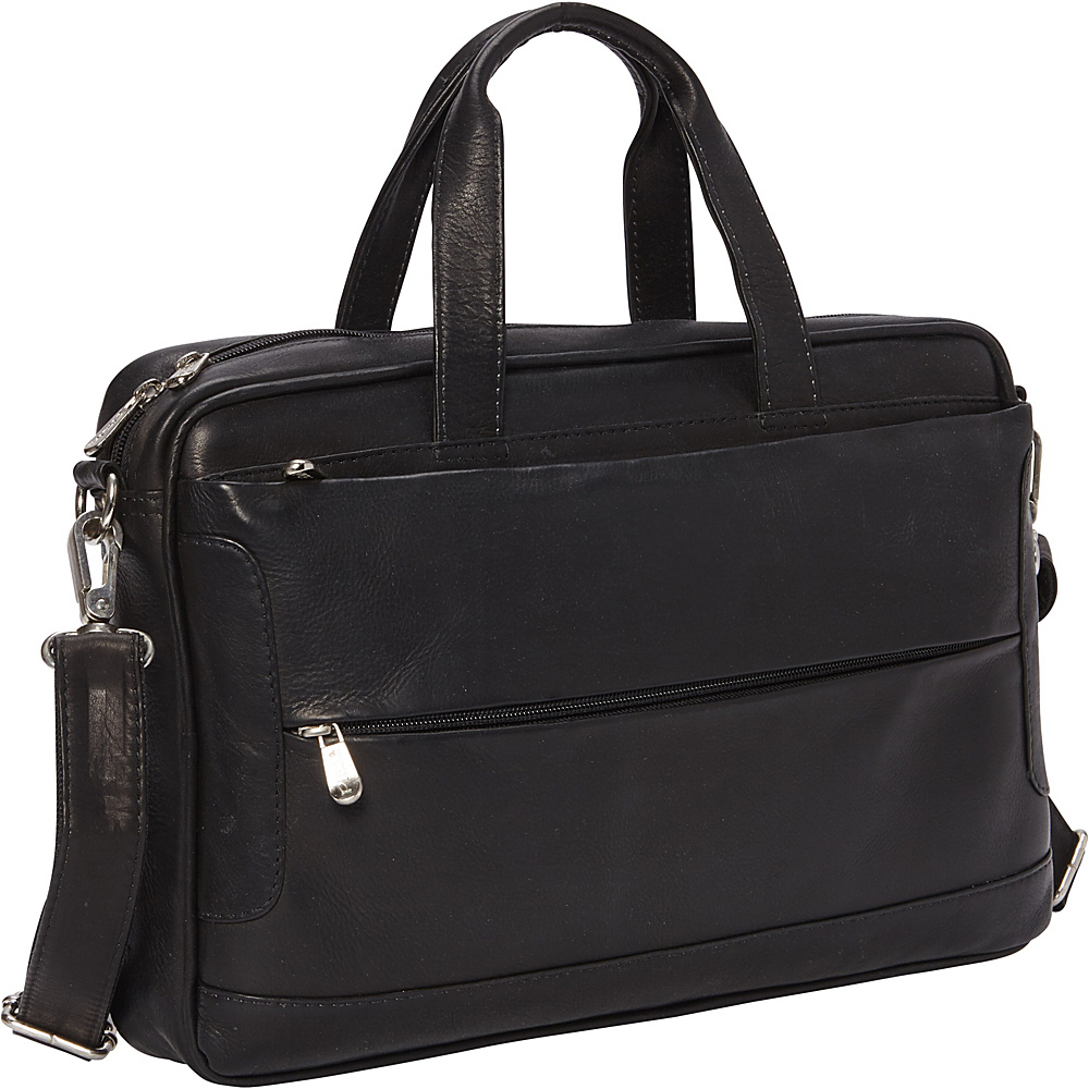Piel Hidden Pocket Laptop Briefcase Black - Piel Non-Wheeled Business Cases - Work Bags & Briefcases, Non-Wheeled Business Cases