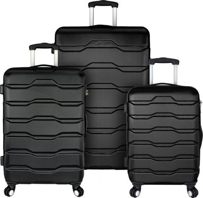 Elite Luggage Omni 3 Piece Hardside Spinner Luggage Set Black - Elite Luggage Luggage Sets