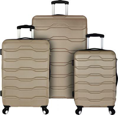 Elite Luggage Omni 3 Piece Hardside Spinner Luggage Set Champagne - Elite Luggage Luggage Sets