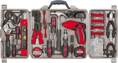 Apollo Tools 161 Piece Household Tool Kit with 4.8 Volt Screwdriver Red - Apollo Tools Sports Accessories