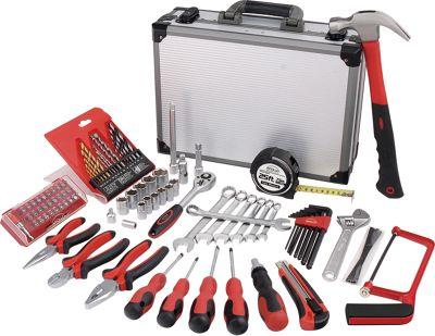 Apollo Tools 96 Piece Deluxe General Tool Kit in Aluminum Case Red - Apollo Tools Sports Accessories