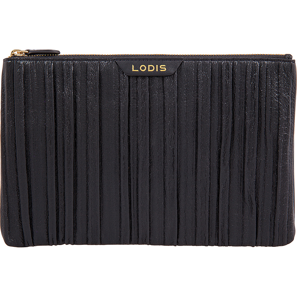 Lodis Pleasantly Pleated RFID Flat Pouch Black - Lodis Womens Wallets - Women's SLG, Women's Wallets