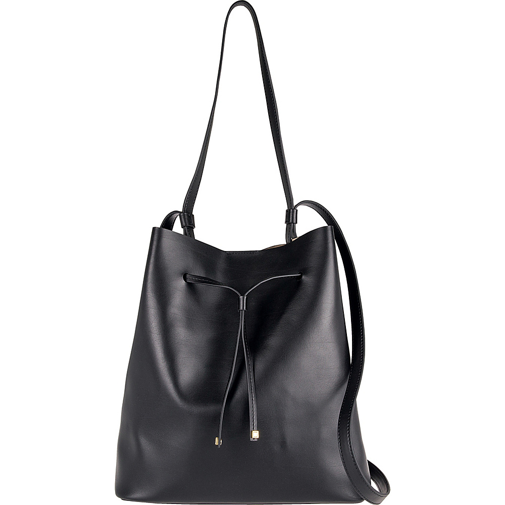 Lodis Silicon Valley RFID Halina Large Drawstring Crossbody Black/ Taupe - Lodis Leather Handbags - Handbags, Leather Handbags