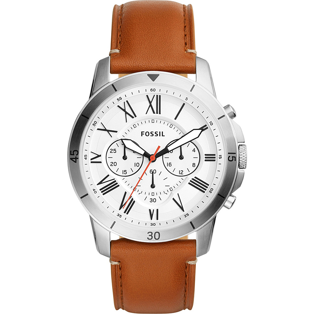 Fossil Grant Sport Chronograph Tan Leather Watch Brown - Fossil Watches - Fashion Accessories, Watches
