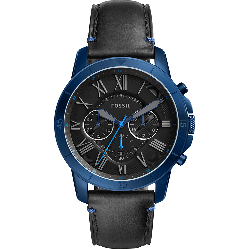 Fossil Grant Sport Chronograph Black Leather Watch Black - Fossil Watches - Fashion Accessories, Watches