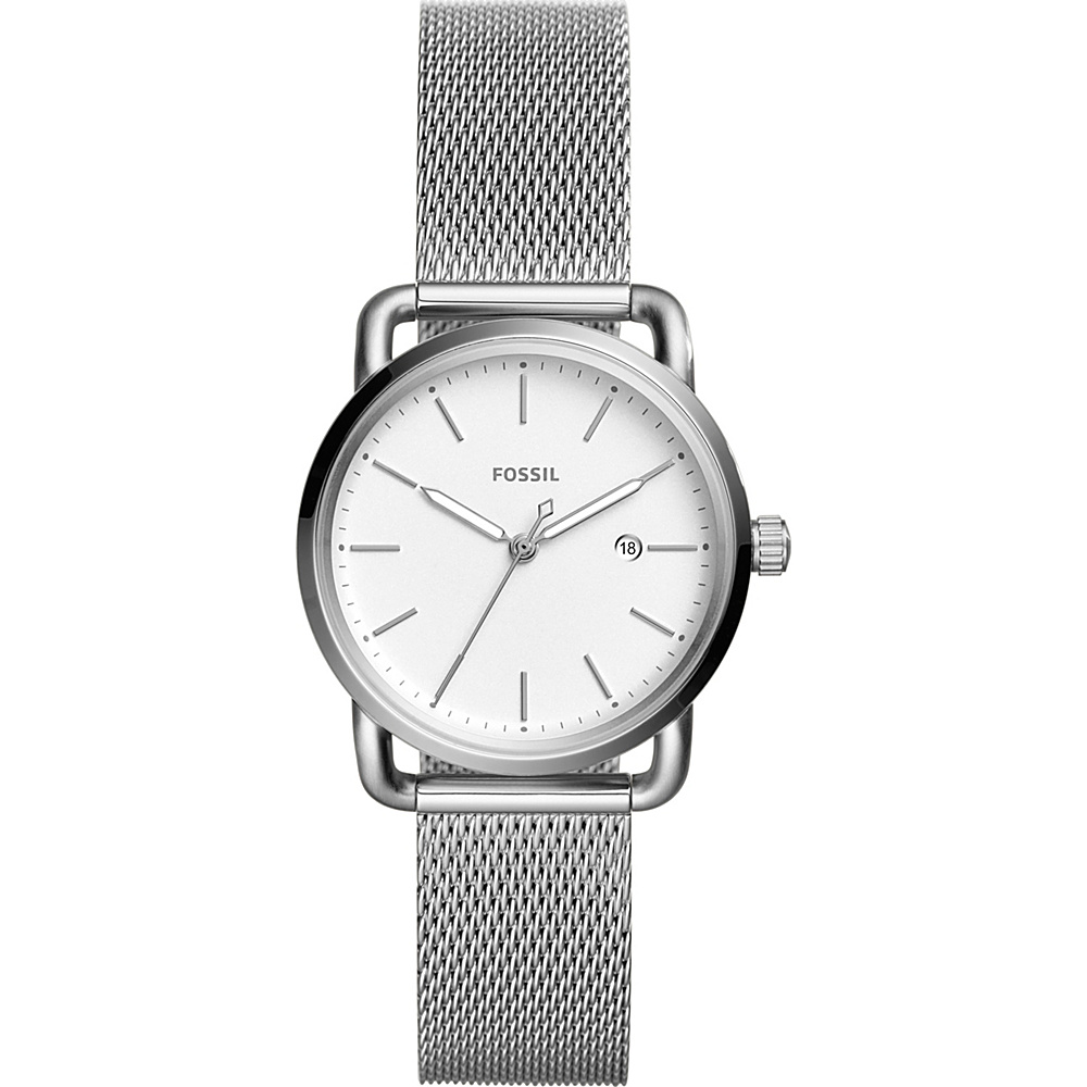 Fossil The Commuter Three-Hand Date Stainless Steel Watch Silver - Fossil Watches - Fashion Accessories, Watches