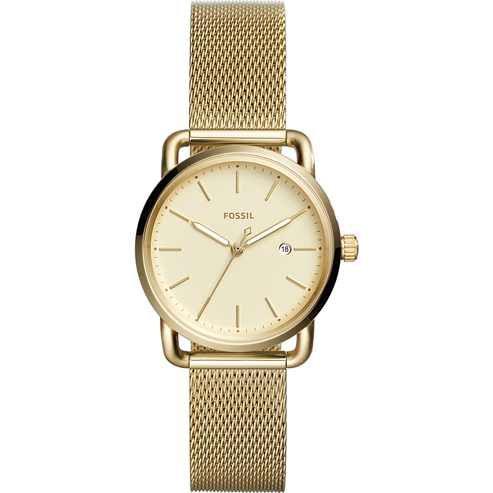 Fossil The Commuter Three-Hand Date Stainless Steel Watch Gold - Fossil Watches - Fashion Accessories, Watches
