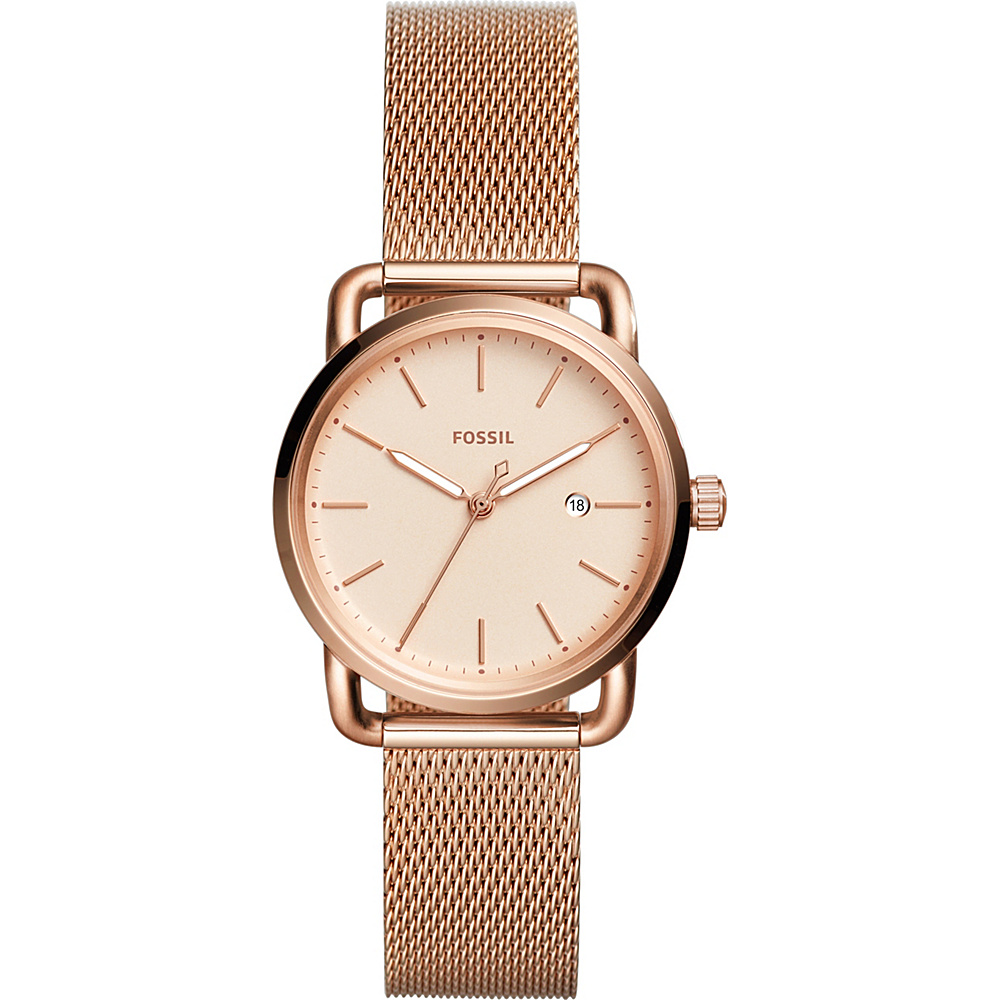 Fossil The Commuter Three-Hand Date Stainless Steel Watch Rose Gold - Fossil Watches - Fashion Accessories, Watches