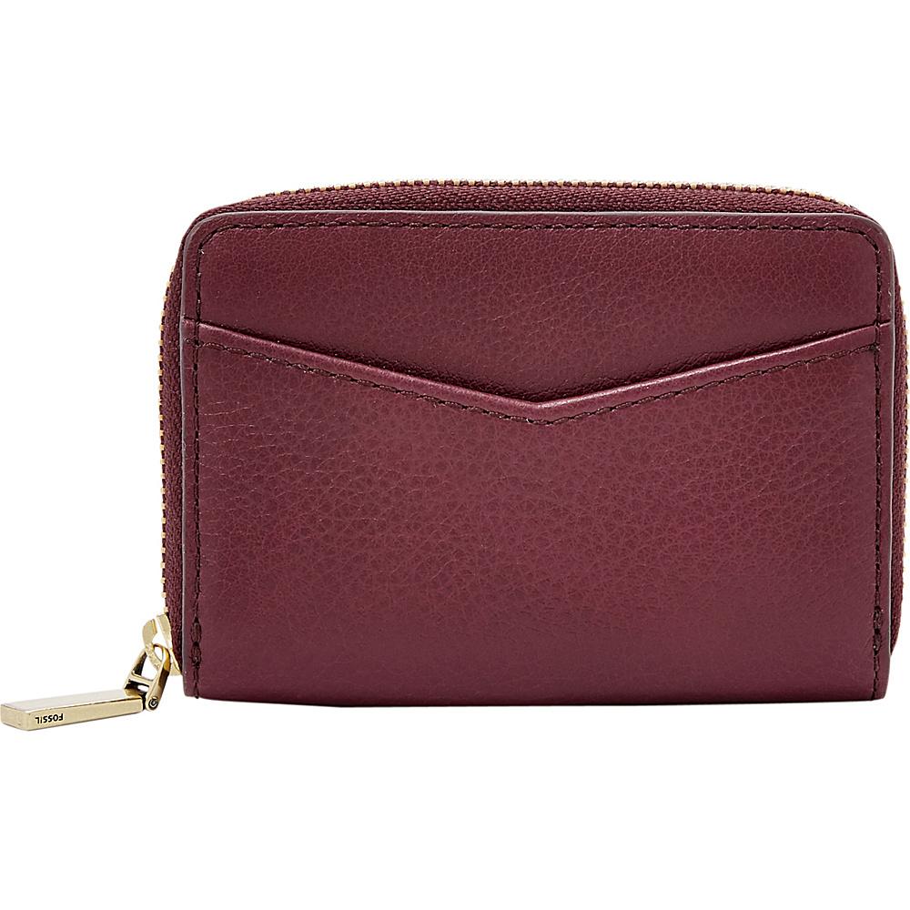 Fossil RFID Mini Zip Card Case Cabernet - Fossil Womens Wallets - Women's SLG, Women's Wallets