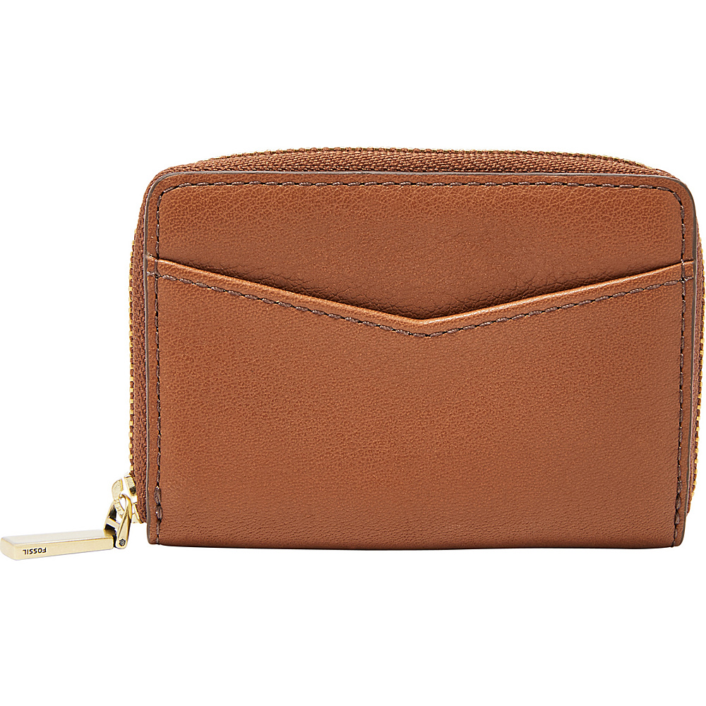 Fossil RFID Mini Zip Card Case Brown - Fossil Womens Wallets - Women's SLG, Women's Wallets