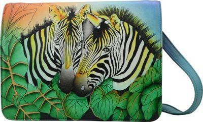 ANNA by Anuschka Hand Painted Medium Saddle Crossbody Zebra Safari - ANNA by Anuschka Leather Handbags