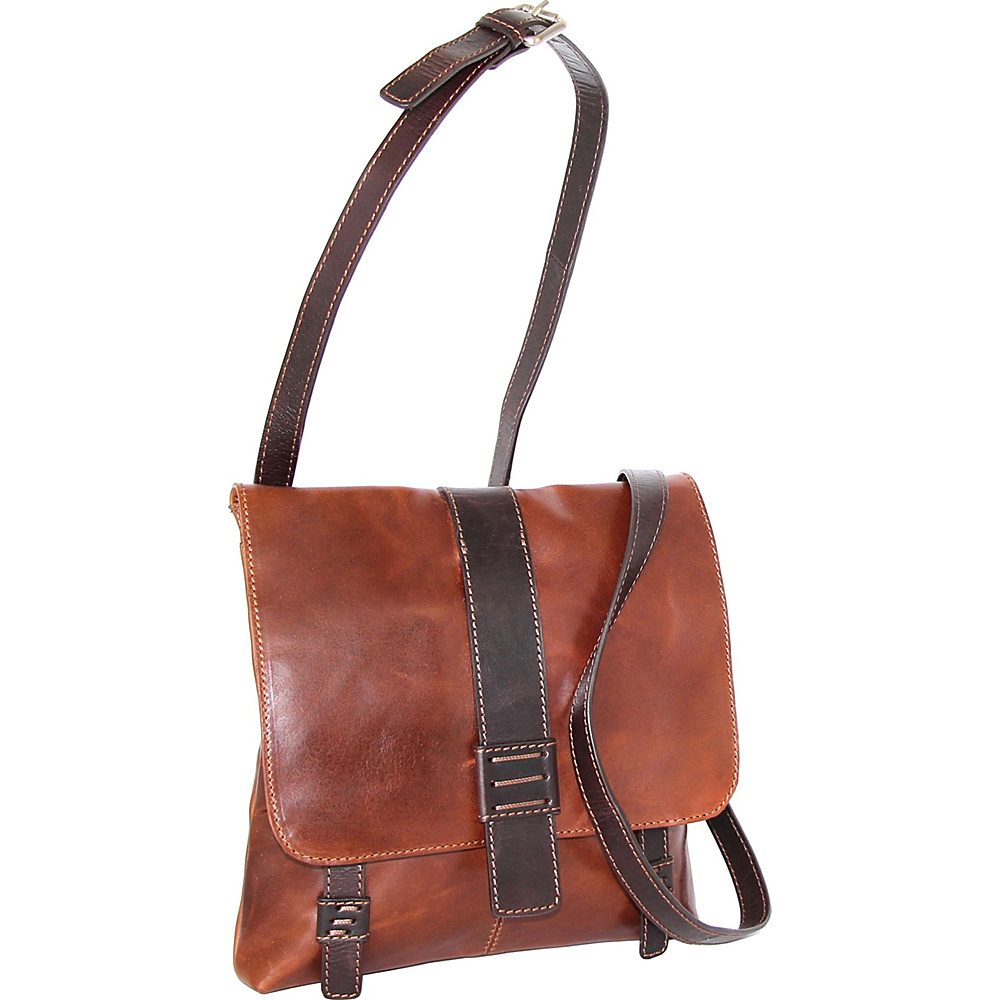 Nino Bossi Zoey Small Messenger Crossbody Cognac - Nino Bossi Leather Handbags - Handbags, Leather Handbags