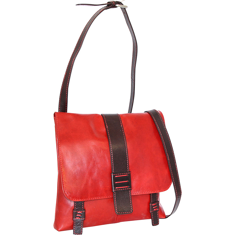 Nino Bossi Zoey Small Messenger Crossbody Tomato - Nino Bossi Leather Handbags - Handbags, Leather Handbags