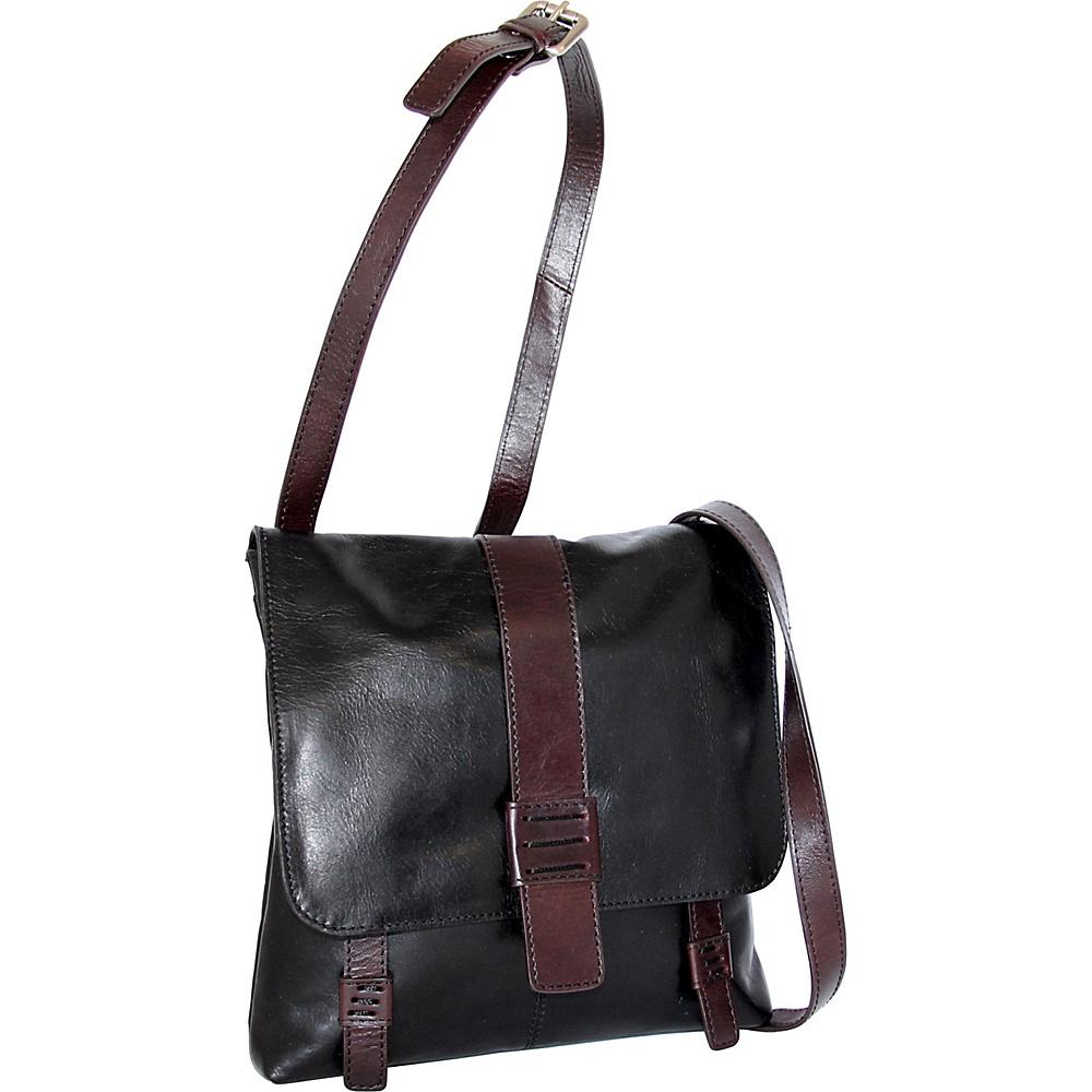 Nino Bossi Zoey Small Messenger Crossbody Black - Nino Bossi Leather Handbags - Handbags, Leather Handbags