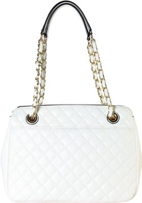 Rimen & Co Large Quilted Tote with Chain Handle White - Rimen & Co Manmade Handbags