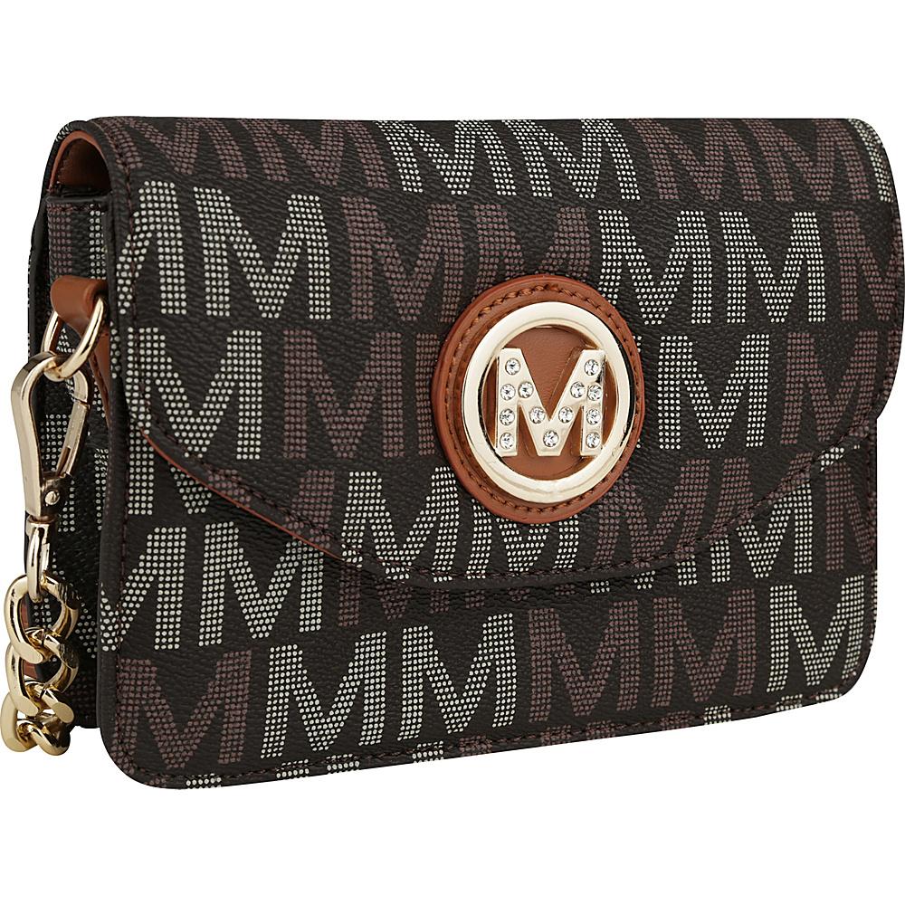 MKF Collection by Mia K. Farrow Ferrara Milan M Signature Crossbody Brown - MKF Collection by Mia K. Farrow Manmade Handbags - Handbags, Manmade Handbags