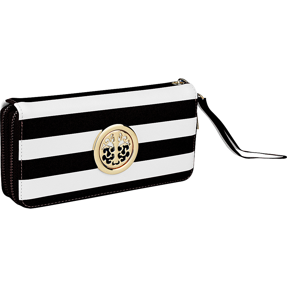 MKF Collection by Mia K. Farrow All About Stripes Wristlet Black - MKF Collection by Mia K. Farrow Womens Wallets - Women's SLG, Women's Wallets