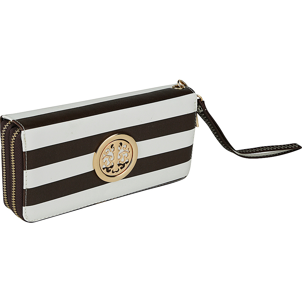 MKF Collection by Mia K. Farrow All About Stripes Wristlet Coffee - MKF Collection by Mia K. Farrow Womens Wallets - Women's SLG, Women's Wallets