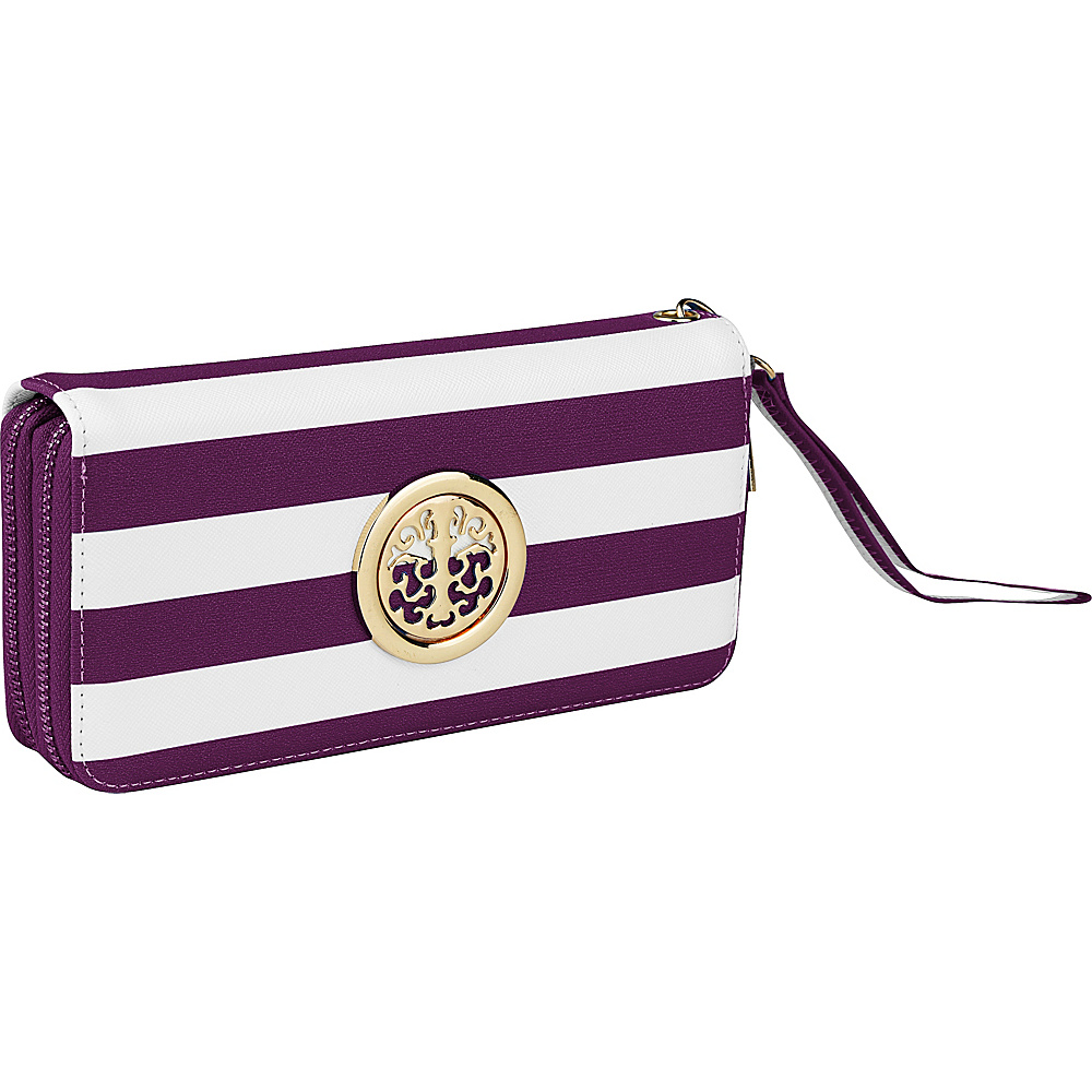 MKF Collection by Mia K. Farrow All About Stripes Wristlet Purple - MKF Collection by Mia K. Farrow Womens Wallets - Women's SLG, Women's Wallets