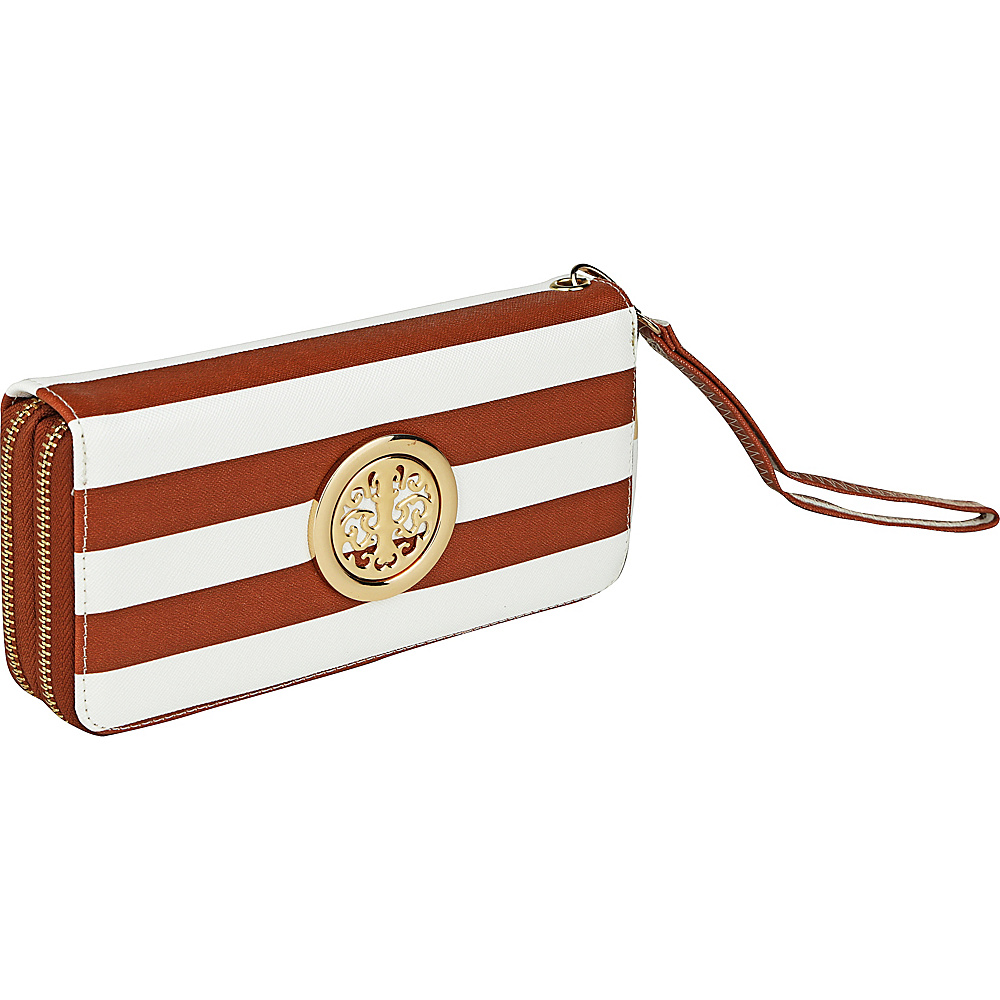 MKF Collection by Mia K. Farrow All About Stripes Wristlet Brown - MKF Collection by Mia K. Farrow Womens Wallets - Women's SLG, Women's Wallets