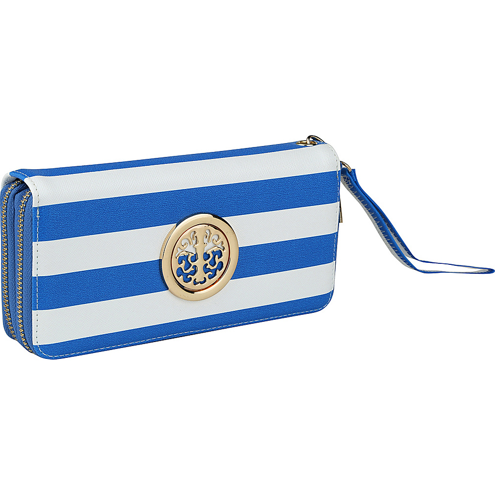 MKF Collection by Mia K. Farrow All About Stripes Wristlet Royal Blue - MKF Collection by Mia K. Farrow Womens Wallets - Women's SLG, Women's Wallets