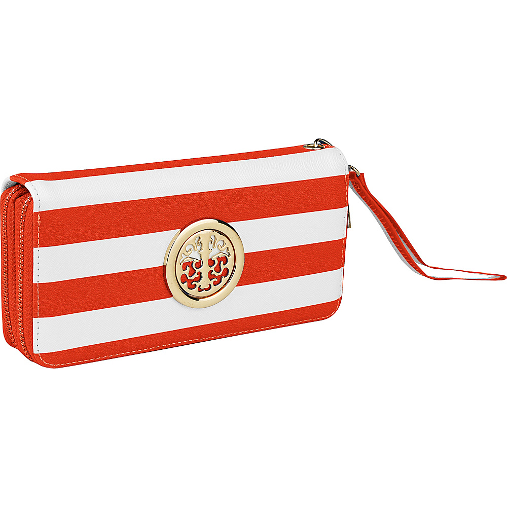 MKF Collection by Mia K. Farrow All About Stripes Wristlet Orange - MKF Collection by Mia K. Farrow Womens Wallets - Women's SLG, Women's Wallets