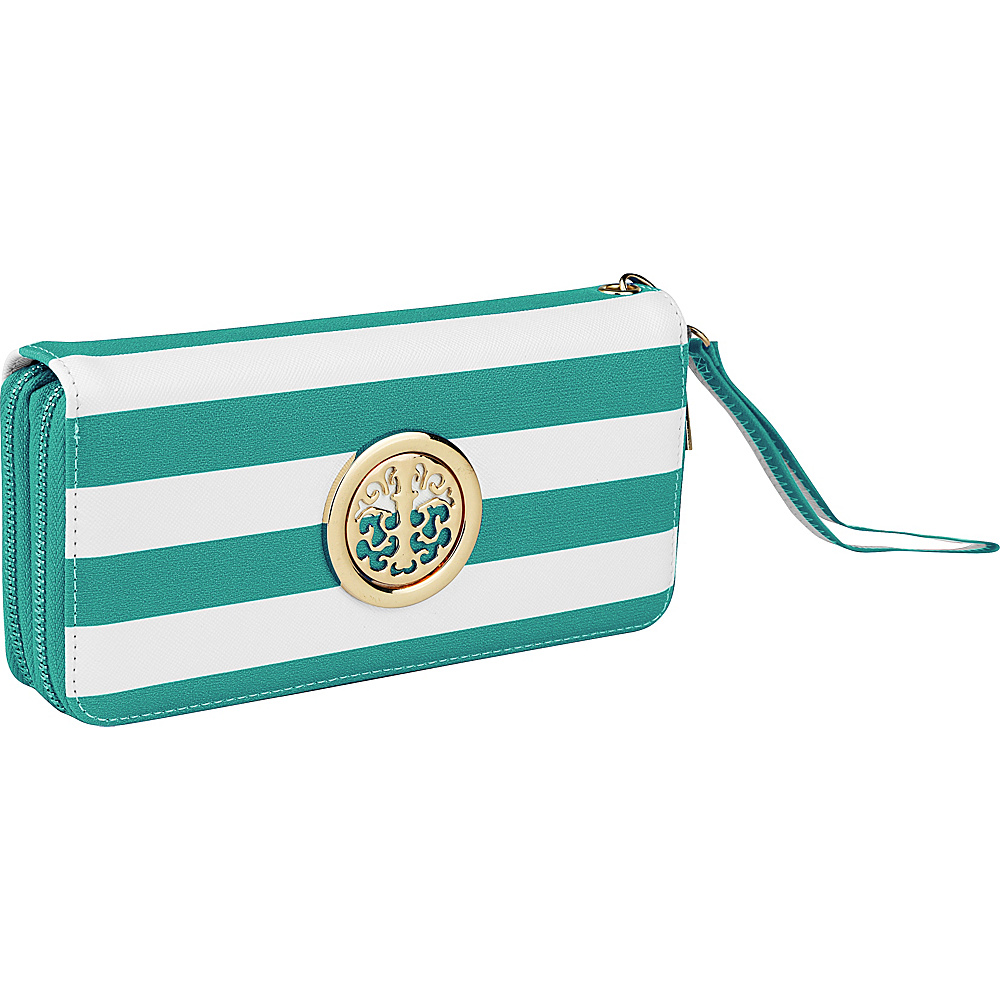 MKF Collection by Mia K. Farrow All About Stripes Wristlet Green - MKF Collection by Mia K. Farrow Womens Wallets - Women's SLG, Women's Wallets