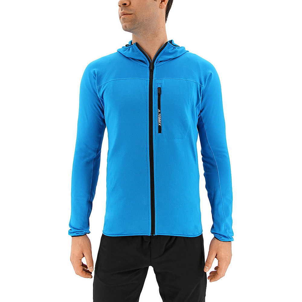 adidas outdoor Mens Terrex Tracerocker Hooded Fleece L - Bold Aqua - adidas outdoor Mens Apparel - Apparel & Footwear, Men's Apparel