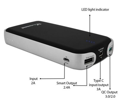 LifeCHARGE 15600mAh Power Pack with Quick Charge 3.0/2.0 Technology & Type-C USB Port Black - LifeCHARGE Portable Batteries & Chargers