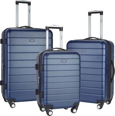 Wrangler 3-N-1 3 Piece Hardside Spinner Luggage Set Navy - Wrangler Luggage Sets