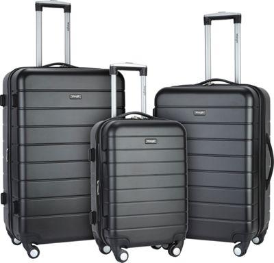Wrangler 3-N-1 3 Piece Hardside Spinner Luggage Set Black - Wrangler Luggage Sets