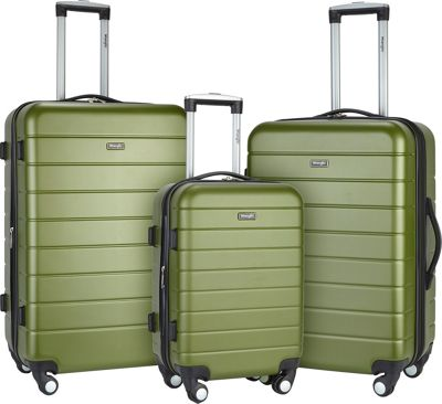 Wrangler 3-N-1 3 Piece Hardside Spinner Luggage Set Olive - Wrangler Luggage Sets