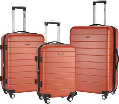 Wrangler 3-N-1 3 Piece Hardside Spinner Luggage Set Burnt Orange - Wrangler Luggage Sets