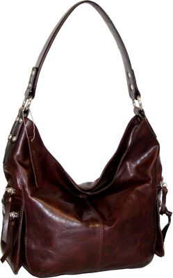 Nino Bossi Marigold Bouquet Hobo Chocolate - Nino Bossi Leather Handbags