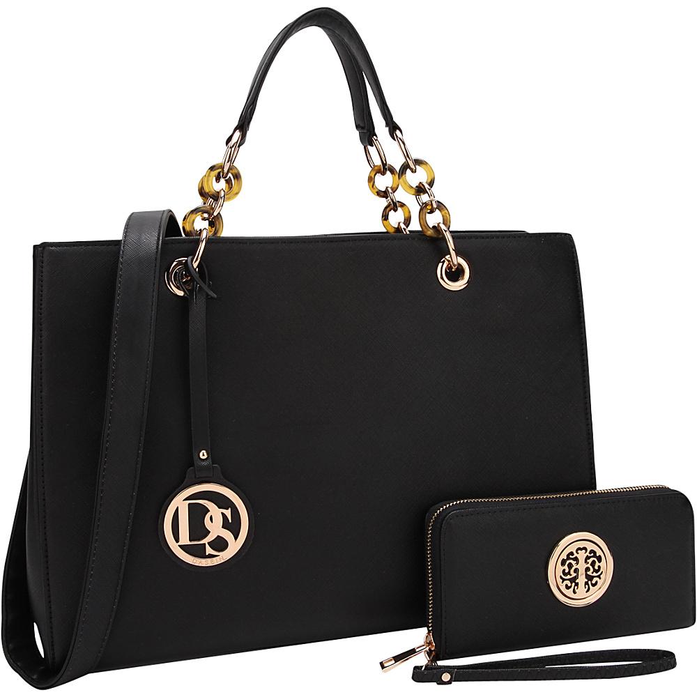 Dasein Chain Strap Satchel with Matching Wallet Black - Dasein Manmade Handbags - Handbags, Manmade Handbags