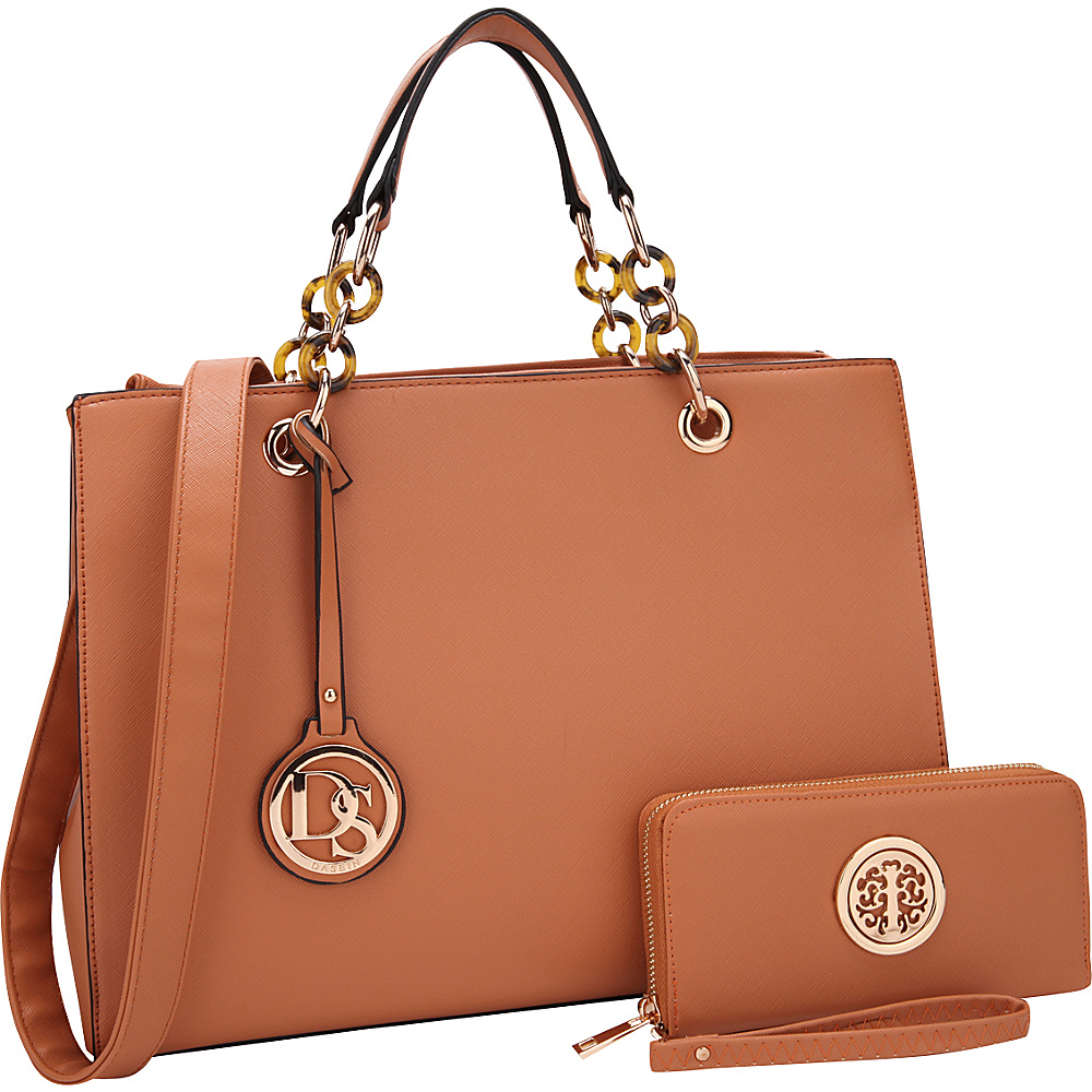 Dasein Chain Strap Satchel with Matching Wallet Brown - Dasein Manmade Handbags - Handbags, Manmade Handbags