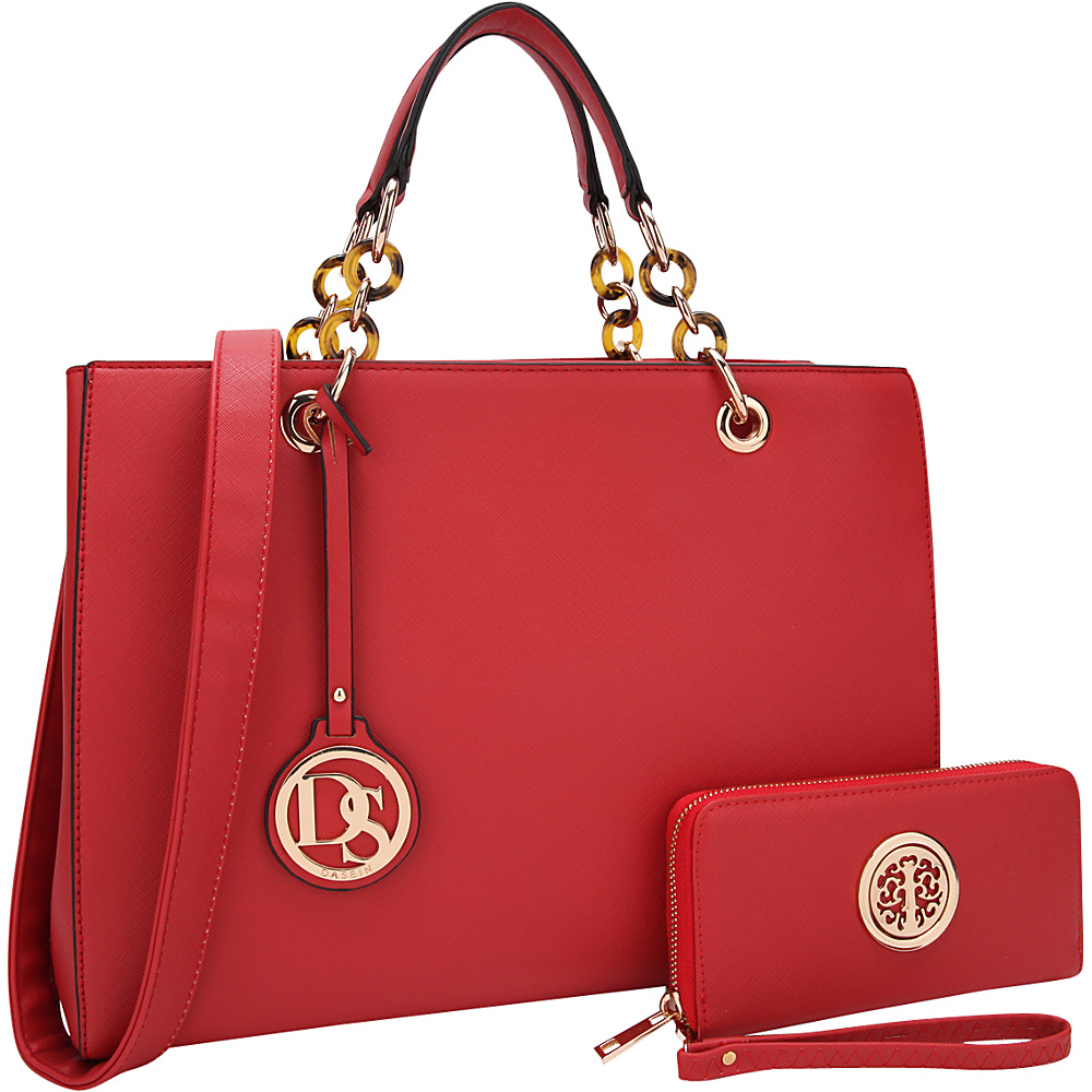 Dasein Chain Strap Satchel with Matching Wallet Red - Dasein Manmade Handbags - Handbags, Manmade Handbags