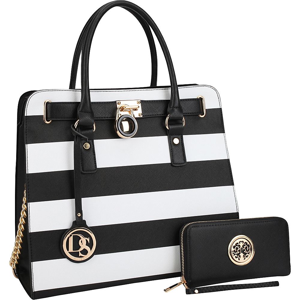 Dasein Large Satchel with Matching Wallet Black/White - Dasein Manmade Handbags - Handbags, Manmade Handbags