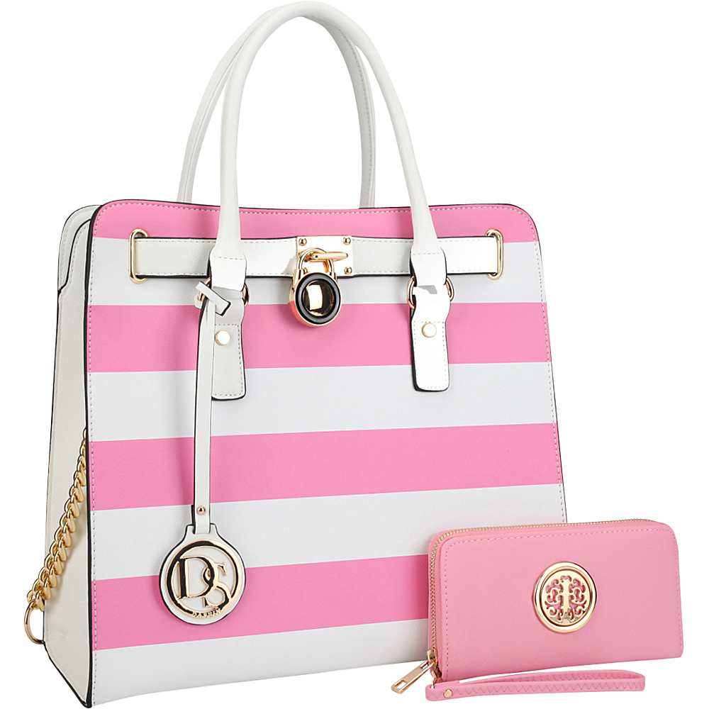 Dasein Large Satchel with Matching Wallet Pink/White - Dasein Manmade Handbags - Handbags, Manmade Handbags